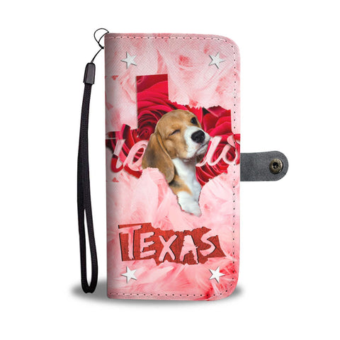Beagle On Pink Print Wallet Case- Free Shipping-TX State
