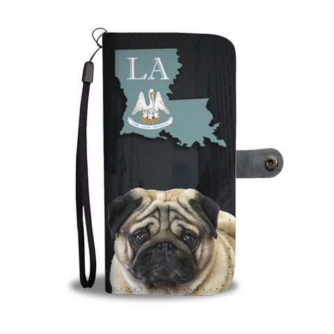 Pug Dog Print Wallet Case-Free Shipping-LA State