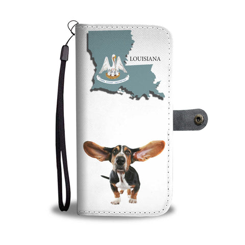 Basset Hound Print Wallet Case-Free Shipping-LA State