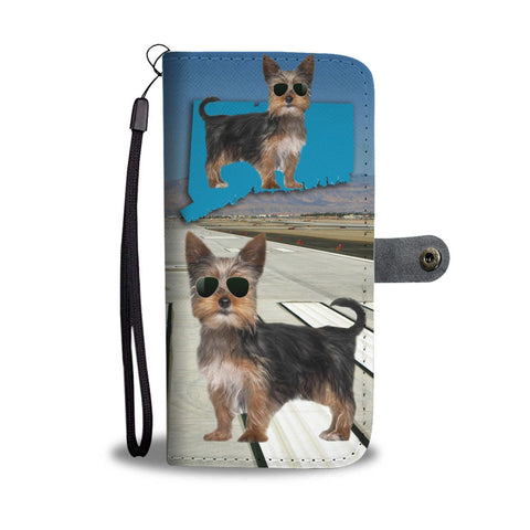 Yorkie Print Wallet Case-Free Shipping-CT State