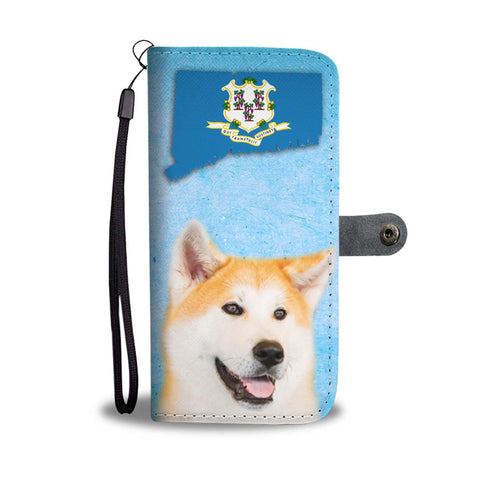 Cute Akita Dog Print Wallet Case-Free Shipping-CT State
