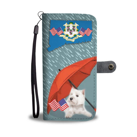 Westie Print Wallet Case-Free Shipping-CT State