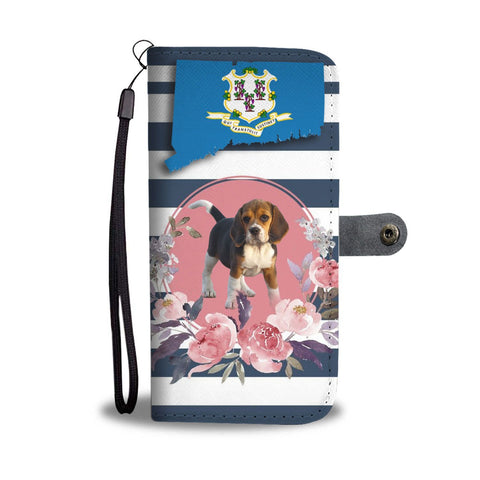 Cute Beagle Print Wallet Case-Free Shipping-CT State