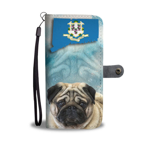 Pug Print Wallet Case-Free Shipping-CT State