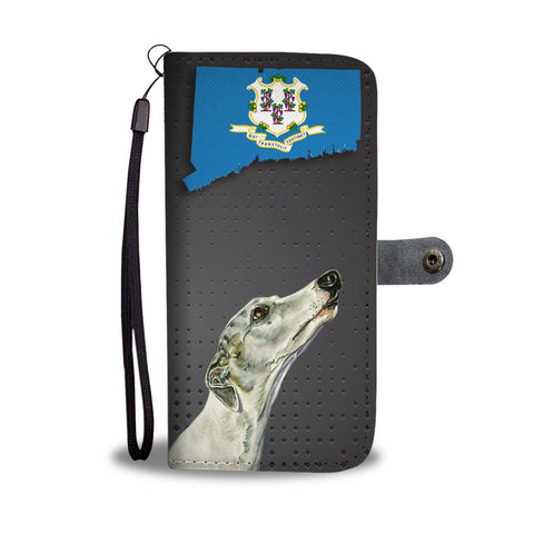 Whippet Dog Print Wallet Case-Free Shipping-CT State