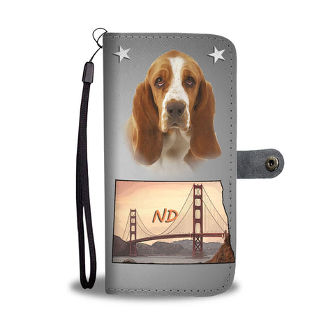 Basset Hound Print Wallet Case-Free Shipping-ND State