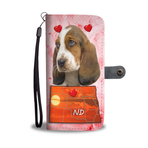 Lovely Basset Hound Print Wallet Case-Free Shipping-ND State