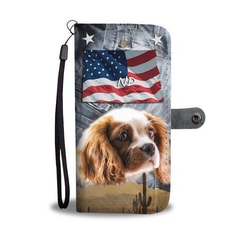 Cute Cavalier King Charles Spaniel Print Wallet Case- Free Shipping-ND State