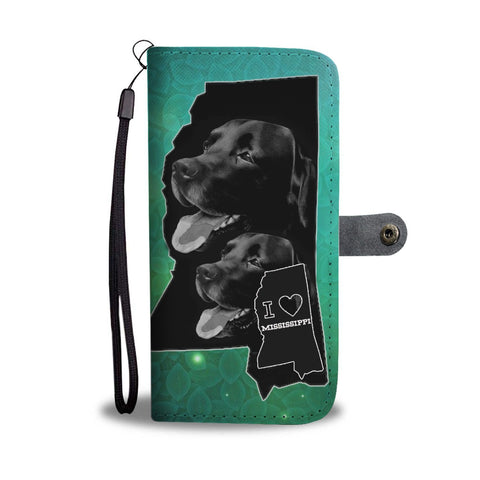 Black Labrador Print Wallet Case-Free Shipping-MS State