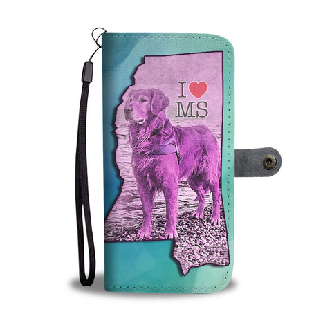 Amazing Golden Retriever Art Print Wallet Case-Free Shipping-MS State