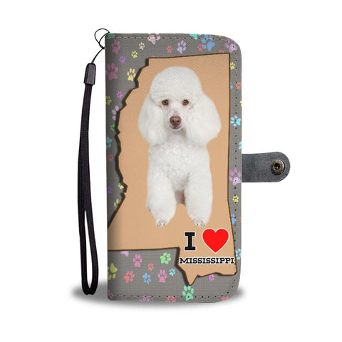 Cute Poodle Print Wallet Case-Free Shipping-MS State
