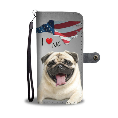 Lovely Pug Dog Print Wallet Case- Free Shipping-NC State