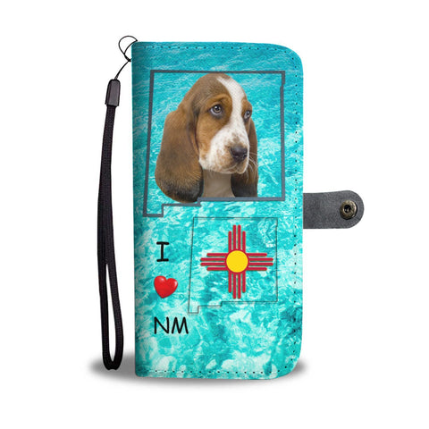 Cute Basset Hound Print Wallet Case-Free Shipping-NM State