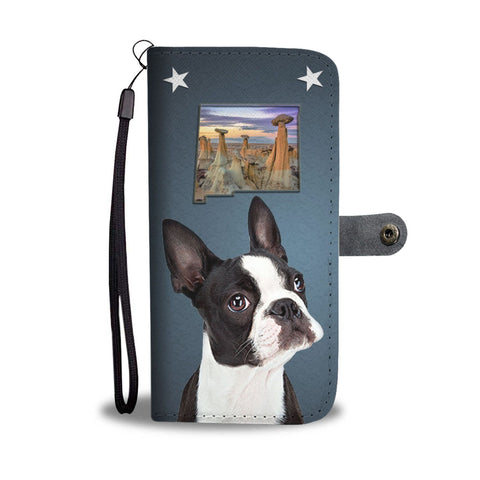 Boston Terrier Print Wallet Case- Free Shipping-NM State
