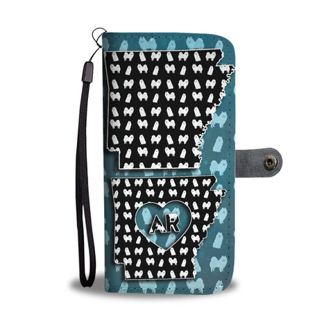 American Eskimo Dog Pattern Print Wallet Case-Free Shipping-AR State