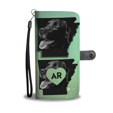 Black Labrador Print Wallet Case-Free Shipping-AR State