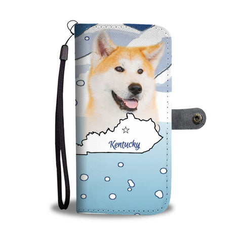 Cute Akita Print Wallet Case-Free Shipping-KY State