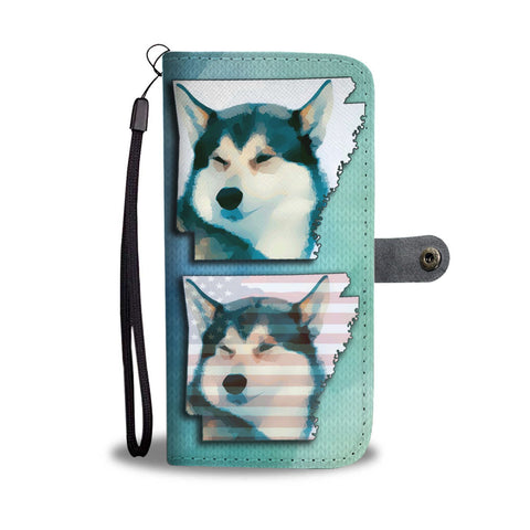 Siberian Husky Art Print Wallet Case-Free Shipping-AR State