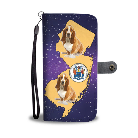 Cute Basset Hound Dog Print Wallet Case-Free Shipping-NJ State