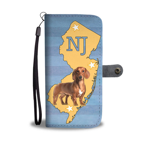 Dachshund Dog Print Wallet Case-Free Shipping-NJ State