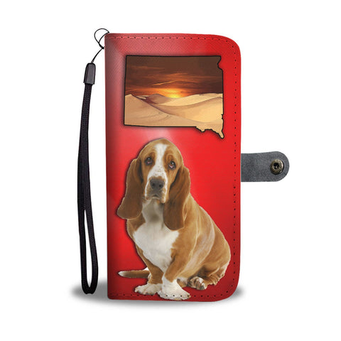 Cute Basset Hound Print Wallet Case-Free Shipping-SD State