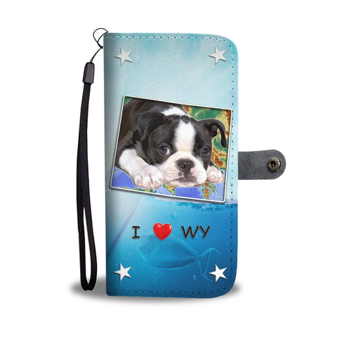 Lovely Boston Terrier Print Wallet Case-Free Shipping-WY State