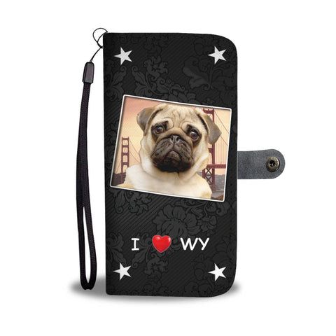 Pug Dog On Black Print Wallet Case-Free Shipping-WY State