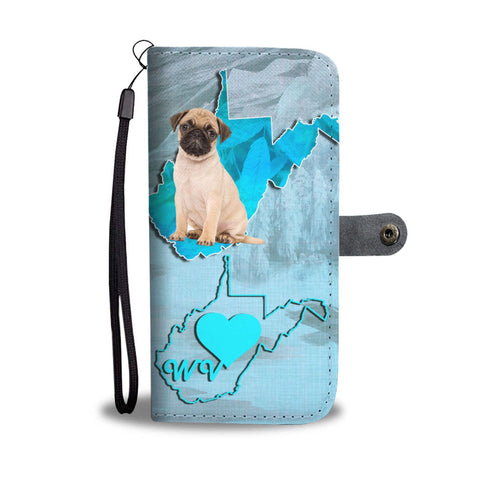Lovely Pug Print Wallet Case-Free Shipping-WV State
