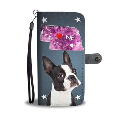 Boston Terrier Print Wallet Case-Free Shipping-NE State