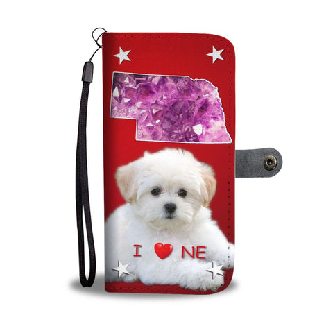 Maltese Dog On Red Print Wallet Case-Free Shipping-NE State