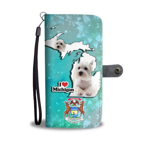 Cute West Highland White Terrier Print Wallet Case-Free Shipping-MI State