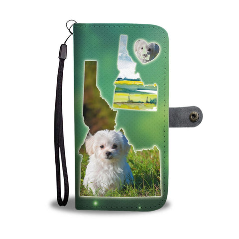 Cute Maltese Dog Print Wallet Case-Free Shipping-ID State