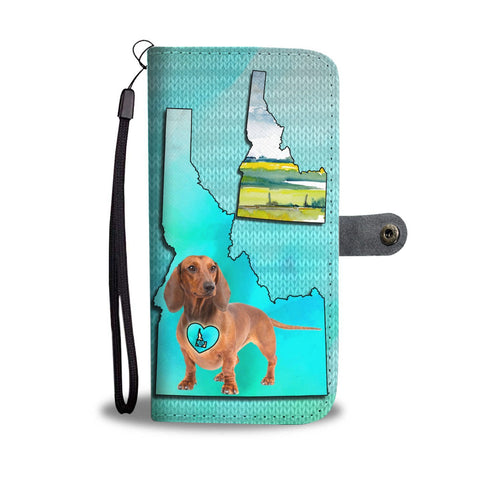 Dachshund Dog Print Wallet Case-Free Shipping-ID State