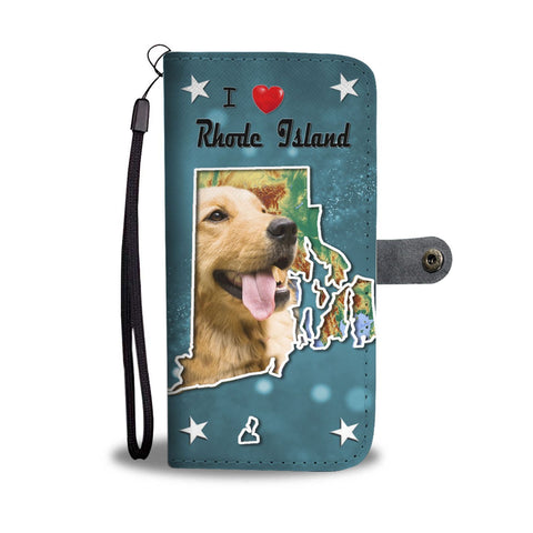 Lovely Golden Retriever Print Wallet Case-Free Shipping-RI State