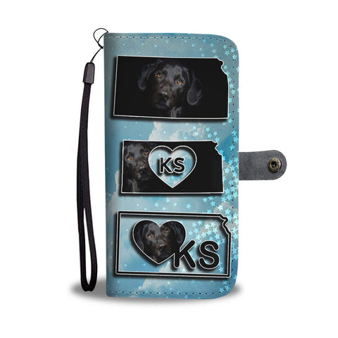Black Labrador Print Wallet Case-Free Shipping-KS State