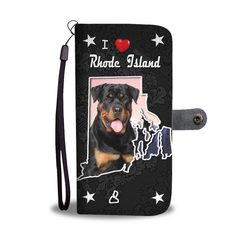 Rottweiler Dog On Black Print Wallet Case-Free Shipping-RI States