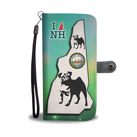 Pug Dog Art Print Wallet Case-Free Shipping-NH State
