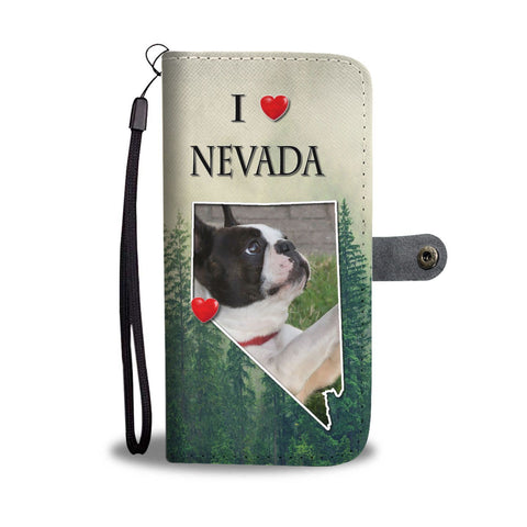 Lovely Boston Terrier Print Wallet Case-Free Shipping-NV State