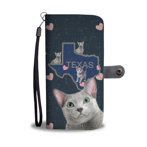 Russian Blue Cat Print Wallet Case-Free Shipping-TX State
