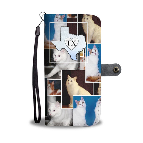 Turkish Angora Cat Print Wallet Case-Free Shipping-TX State