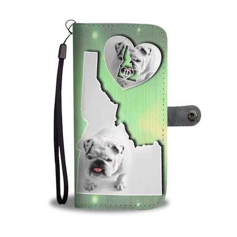 Cute Bulldog Puppy Print Wallet Case-Free Shipping-ID State