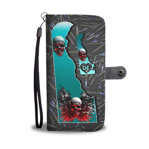 Gun And Skull Print Limited Edition Wallet Case-Free Shipping-DE State