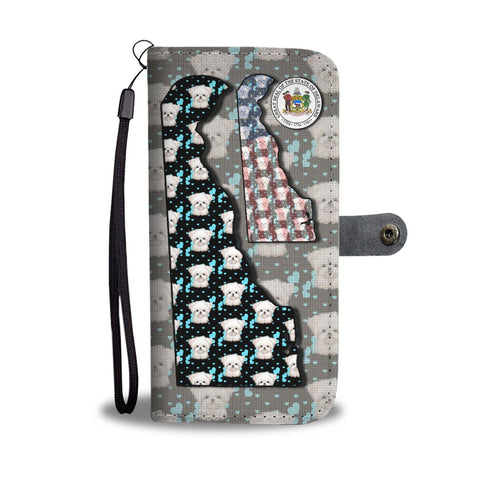 Maltese Dog Pattern Print Wallet Case-Free Shipping-DE State