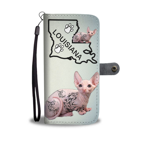 Sphynx Cat Print Wallet Case-Free Shipping-LA State