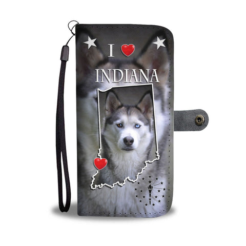 Cute Siberian Husky Print Wallet Case-Free Shipping-IN State