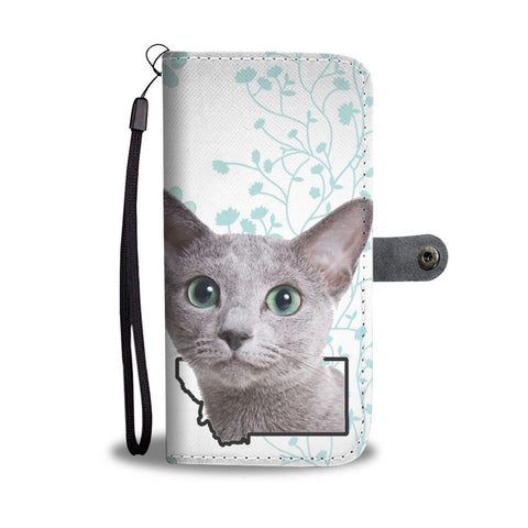 Russian Blue Cat Print Wallet Case-Free Shipping-MT State
