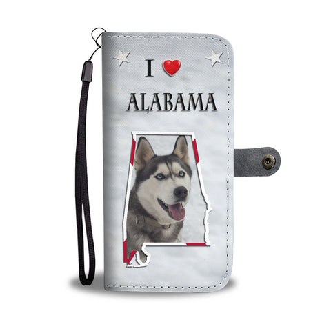 Cute Siberian Husky Print Wallet Case-Free Shipping-AL State