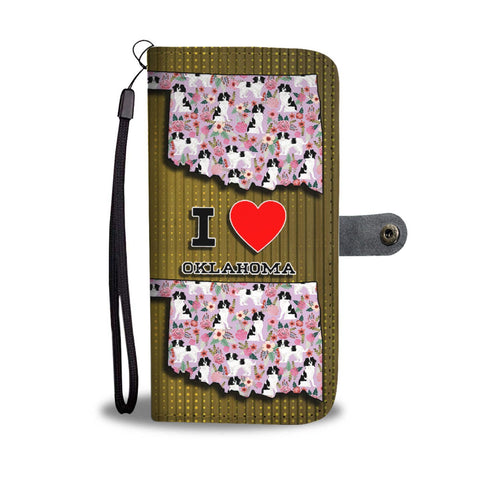 Japanese Chin Dog Floral Print Wallet Case-Free Shipping-OK State