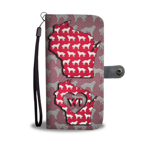 Great Pyrenees (Pyrenean Mountain Dog) Pattern Print Wallet Case-Free Shipping-WI State