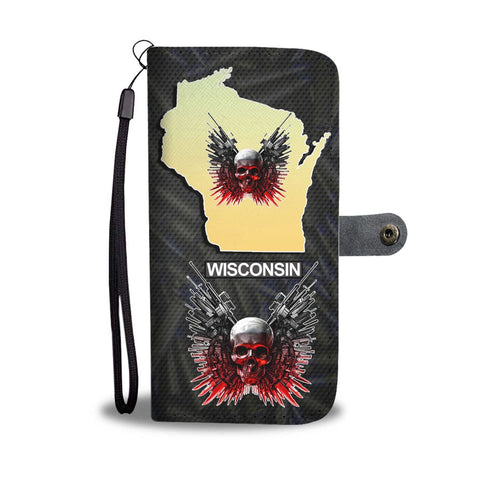 Limited Edition-Gun And Skull Print Wallet Case-Free Shipping-WI State